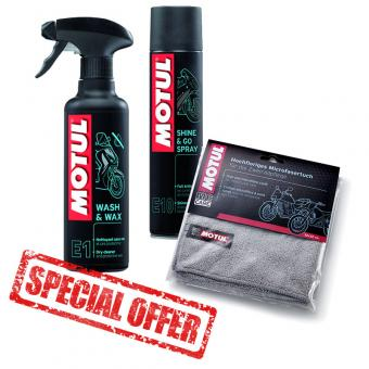 Motul gloss package motorcycles and scooters cleaning E1 Wash and E10 Shine + free microfibre cloth